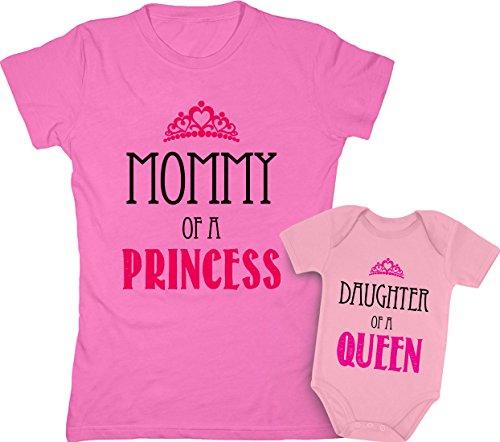 Mommy of a Princess & Daughter of a Queen Mother & Daughter Matching Set Shirt Bodysuit Clothing Newborn/Women Small, Women Pink/Baby Wow Pink