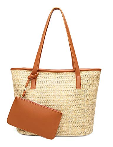 ilishop Women's Straw Handbags Set,Beach Tote Bag PU Leather Shoulder bag Purse Handmade Summer ()