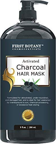 Activated Charcoal Hair Mask, 9 fl. oz. Restorative Hair Mask, Deep Conditioner for Damaged & Dry Hair, Promotes Natural Hair Growth, Nourishes Scalp, Removes Residue Buildup, Detangler& Sulfate Free