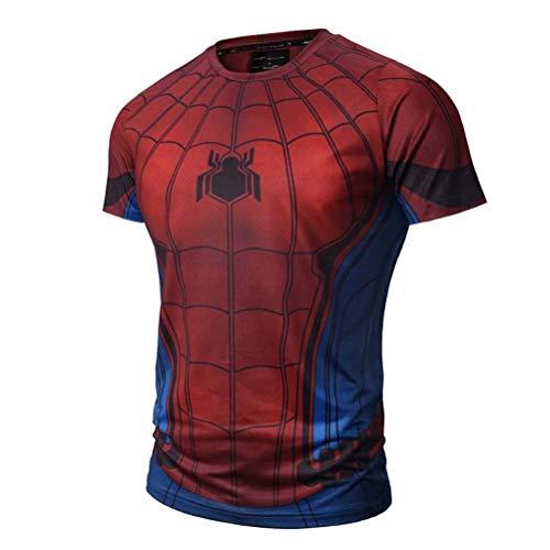 Men's Compression Sport Tight Spider-Man Running T -