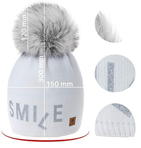 Laine Tricoté 4sold Doublure Polaire Pom Womens Smile Cap Ski Avec Bobble Bonnet Grand Model Winter 2 White Snowboard qgwIFpBw