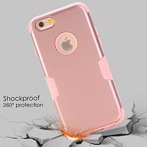 new concept 9ee9b ba4f9 Details about Hybrid Protective Case For iPhone 6 /6S Plus W/Screen  Protector Accessory Rose