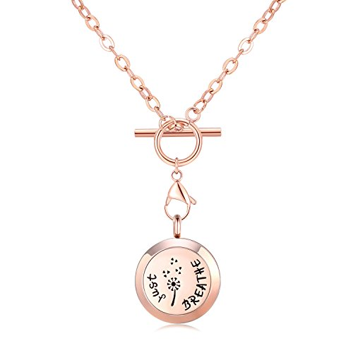 MESINYA Rose Gold Color Just Breathe Aromatherapy/Essential Oils Surgical S.Steel Diffuser Locket Pendant Necklace (24inch Toggle -