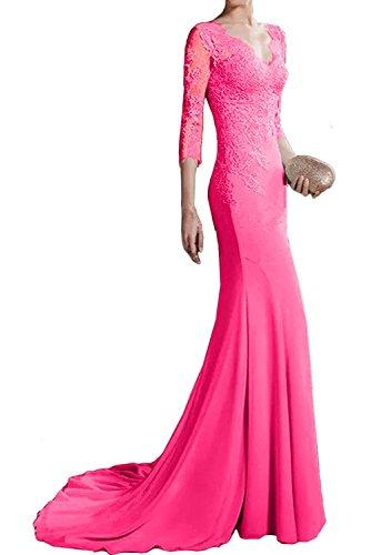 Spitze La Abschlussballkleider Langarm Damen Marie Braut Pink Figurbetont Abendkleider Etuikleider Lang frcr1tRn