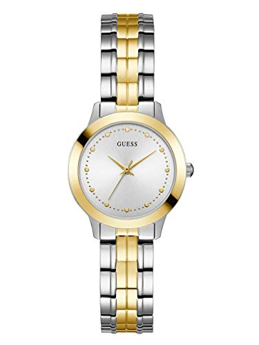 - GUESS  Classic Slim Stainless Steel + Gold-Tone Bracelet Watch. Color: Silver/Gold-Tone (Model: U0989L8)