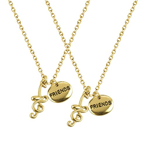Lux Accessories Music Lovers Best Friends Treble Clef Quarter Note BFF Forever Necklace Set (2 PC)