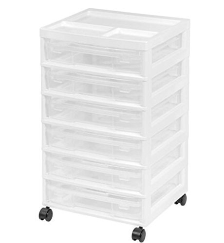 Iris Project and Scrapbook Carts 6 Case Chest with Casters, White