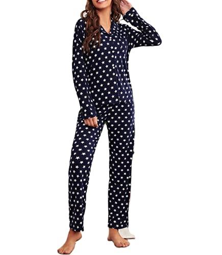 button down pajamas women ladies fancy pajamas womens silk pjs lounging button down pajamas women Navy Stars L