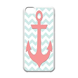 Jumphigh Coral And Light Blue Anchor Nautical Free Printable IPhone 5C Cases, Protective Case For Iphone 5c For Girls {White}