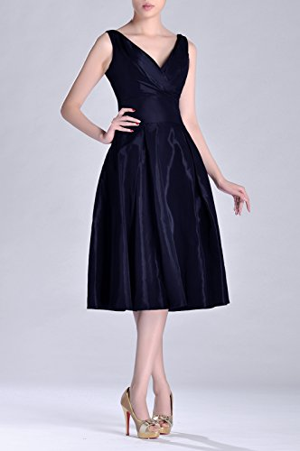 line neck Pleated A Dress Length Tea bridesmaids Bridesmaid Marineblau Taffeta Formal Modest V BwtSqp