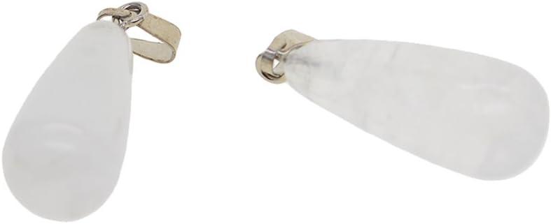 Non-brand Colgantes Gota del Agua De La Piedra Preciosa De 2 Pedazos para Hacer Los Artes - Jade Blanco