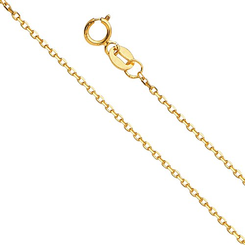 - 14k Yellow Gold 0.9mm Angle Cut Oval Rolo Chain Necklace with Spring Ring Clasp - 22