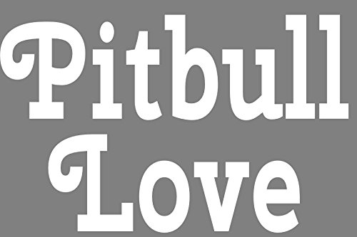 (WickedGoodz White Pitbull Love Vinyl Window Decal Transfer - Pit Bull Bumper Sticker - Perfect Pit Bull Owner Gift)