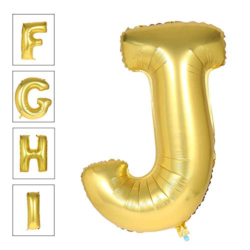 Lovne 40 Inch Jumbo Gold Alphabet J Balloon Giant Prom Balloons Helium Foil Mylar Huge Letter Balloons A to Z for Birthday Party Decorations Wedding Anniversary -