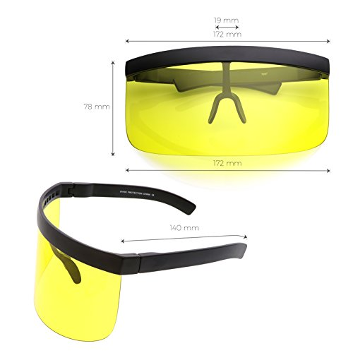 68b53a51c1 sunglassLA - Futuristic Oversize Shield Visor Sunglasses Flat Top Mirrored  Mono Lens 172mm