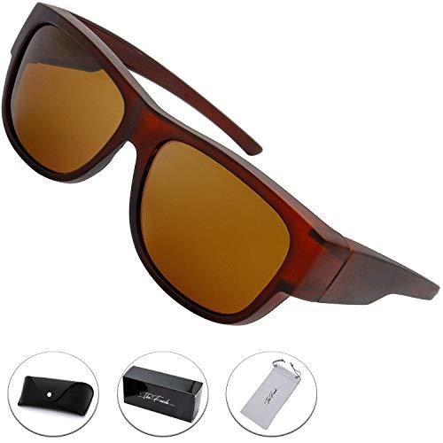 The Fresh High Definition Polarized Wrap Around Sunglasses for Prescription Glasses 66mm Gift Box (6-Matte Brown, Brown)