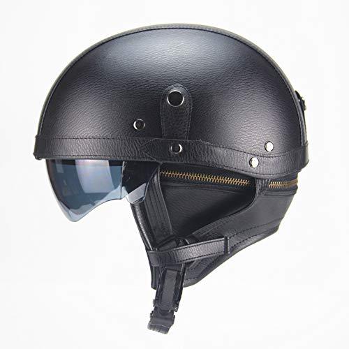 Evin Leather Half Shell Motorcycle Scooter Jet Buoy Helmet - DOT Certified Pilot Cruiser Retro Motorcycle Chopper Helmet Riding Vintage Sunglasses,Black