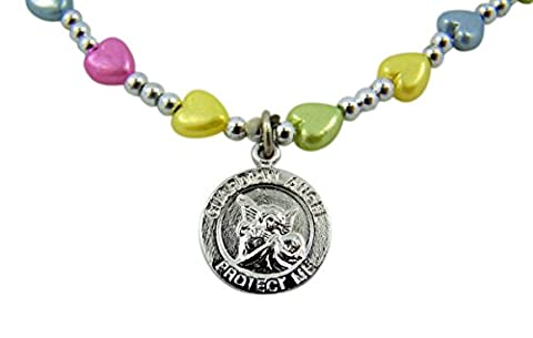 First Communion Multi-Color Heart Glass Bead Necklace with Guardian Angel Pendant, 16 Inch