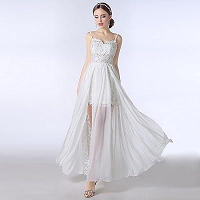 Arrowder Sweetheart Spaghetti Straps Chiffon Split Side Wedding Dresses 2016