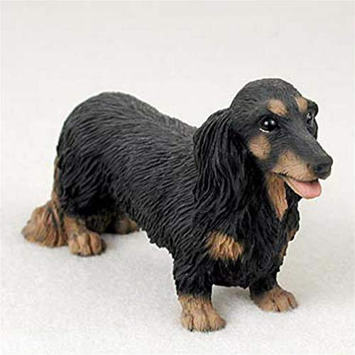 Black Long Hair Figurine - Ky & Co YesKela Dachshund Figurine Hand Painted Collectible Statue Black Long Hair