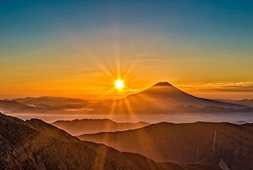 Mount Fuji Sunrise Fog Mountains - Natural Scenery Art Print Canvas Poster(24x36inch)