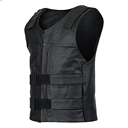 IKleather Mens Bullet Proof style Leather Motorcycle Vest for bikers Club Tactical Vest S, Blue