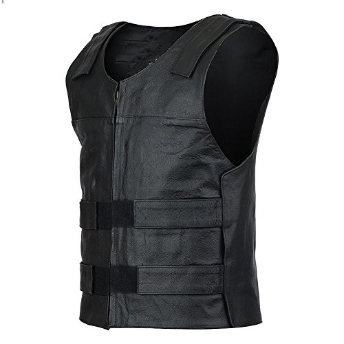 Bikers Leather - Men's Leather Motorcycle Vest - Biker Vest - Bullet Proof Style Leather (111) - Large by Bikers Leather