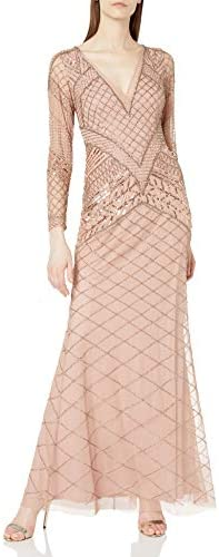 Adrianna Papell Women`s Fully Beaded Long Dress