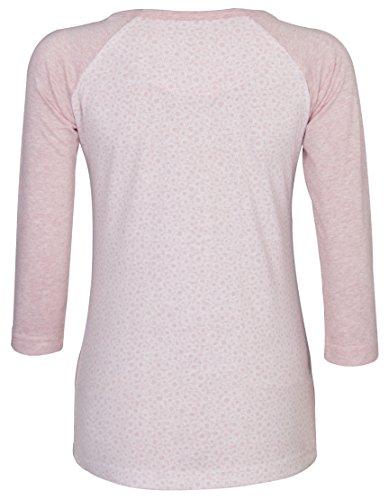 Señoras de la mujer, algodón impreso Top con sólido 3/4Manga béisbol Top Casual Top. SUMMER GARDEN/PINK