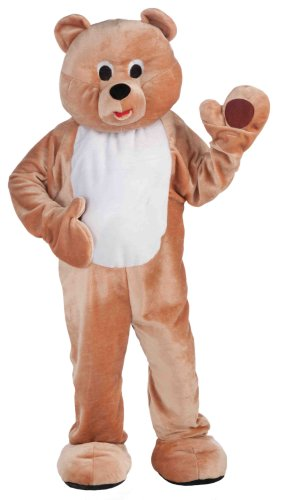 Forum Deluxe Plush Honey Bear Mascot Costume, Tan, One Size]()