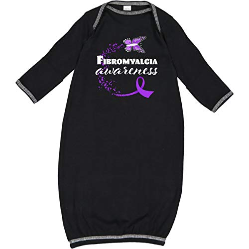 inktastic - Fibromyalgia Awareness Butterfly Ribbon Newborn Layette Black - Fibromyalgia Ribbon Butterfly