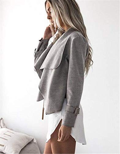 Outerwear Irregularmente Retro Primavera Moda Joven Grey Otoño Larga Abrigos Elegantes Slim Fit Unicolor Prendas Cómodo Exteriores Chaqueta Mujer Manga Z5q88wP1