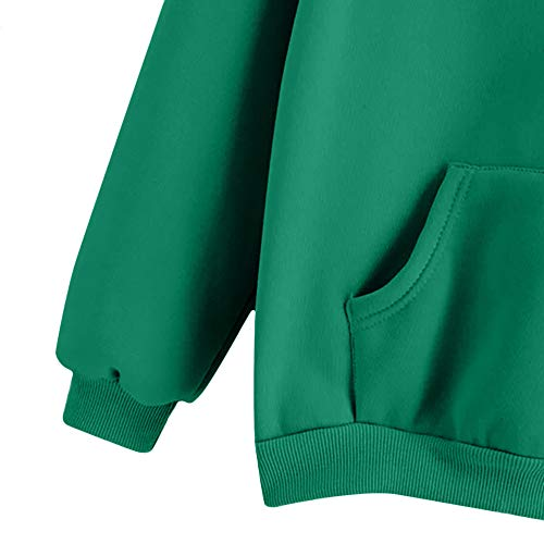 Shirt Sweater Coat Outwear Hooded Blouse Crewneck Jacket Tops Casual Sweatshirt Sleeve Women's Printed Feather Green Pullover Long Hoodie YqwCcv