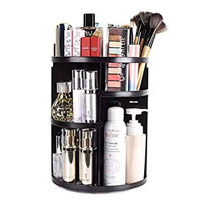sanipoe 360 Rotating Makeup Organizer, DIY Adjustable Makeup Carousel Spinning Holder Storage Rack, Large Capacity Make up Caddy Shelf Cosmetics Organizer Box, Great for Countertop, Black - ★PROFESSIONAL VANITY MAKEUP ORGANIZER: Made of Acrylic, high quality and convenient for cleaning. 360 Revolving angle makeup shelf help find cosmetics easily. This organizer contains 4-pack trays, If you want the rubber ring, please search ASIN: B071S1W3QP. ★SMALL SET BUT LARGE CAPACITY: Hold at least 30 makeup brushes, 20 skincare products and other accessories including lipsticks, nail polish, eyeliner and more cosmetics. Our makeup organizer is bigger and thicker than others in the market. ★OCCASION: Multi-Function revolving makeup organizer for your vanity, bathroom, bedroom, kitchen, dressing room, toliet, table,countertop and desk.Great gift idea for Christmas, New Year, Valentine's Day, Mother's Day, birthdays, and many other holidays. - organizers, bathroom-accessories, bathroom - 41ig%2BeTUaSL. SS400  -
