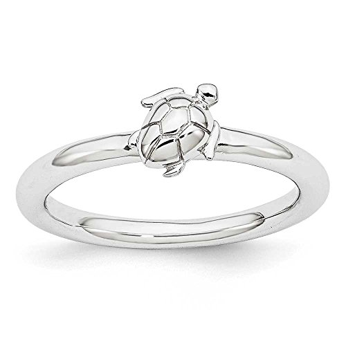 Rhodium Plated Sterling Silver Stackable Expressions Sea Turtle Ring - Size 9 (Turtle Rhodium)
