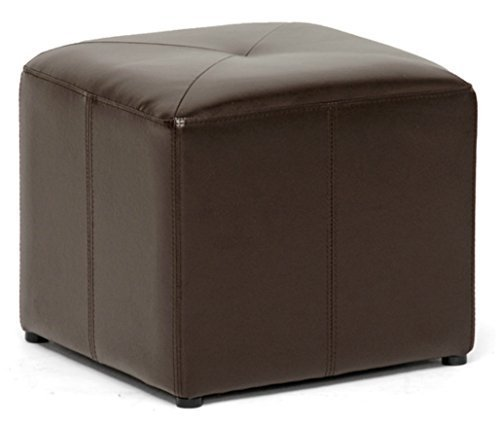 Bonded Leather Modern Cube Sitting Chair Ottoman