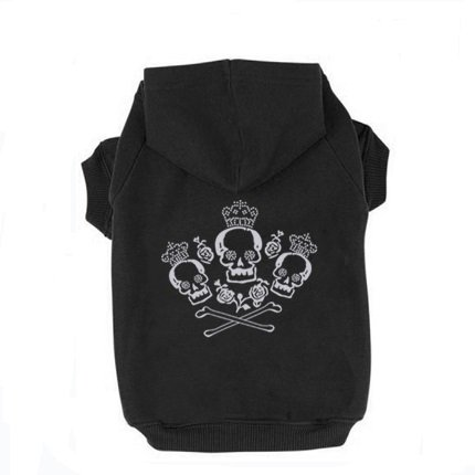 Black XS Three Crown Skull Printed Puppy Dog Cat Fleece Cotton Polyester Sweatshirt Hoodie (Cats In Outfits)