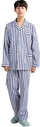 パジャマ 上下セット メンズ 検査 入院 寝まき ねまき ネマキ パジャマ ボタン ブルー/ピンク/ブラウン M/L/XL 全4種類