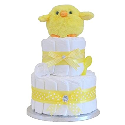Firma Neutral - tarta de pañales dos pisos/diseño de pollito bebé ...