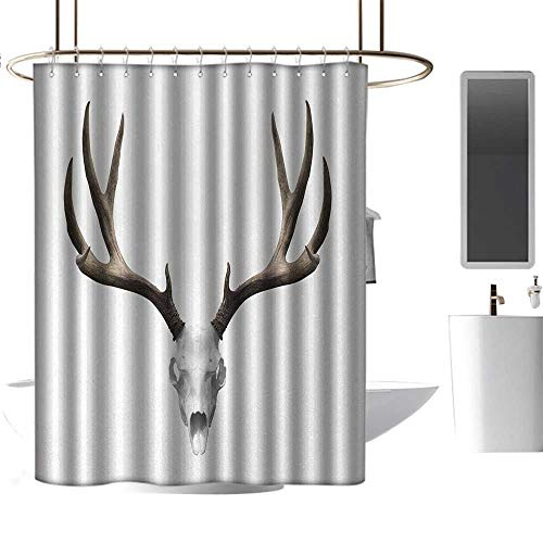 Qenuan Extra Wide Shower Curtain Antlers,A Deer Skull Skeleton Head Bone Halloween Weathered Hunter Collection,Warm Taupe Light Grey,Washable,Durable,Brick Dobby Pattern for Bathroom 54