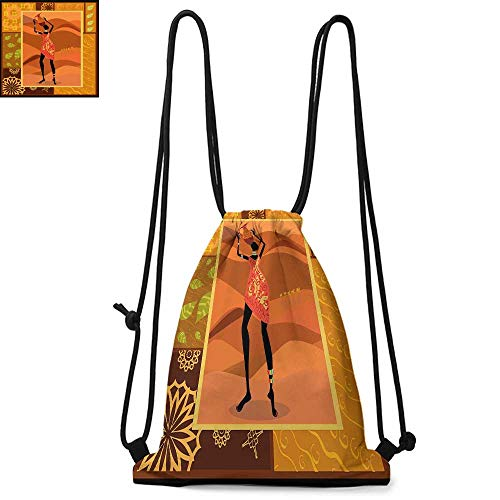 African Woman Printed drawstring backpack Frame with Natural Autumn Elements Native Girl with Vase Exotic Zulu Print Suitable for school or travel W17.3 x L13.4 Inch Multicolor