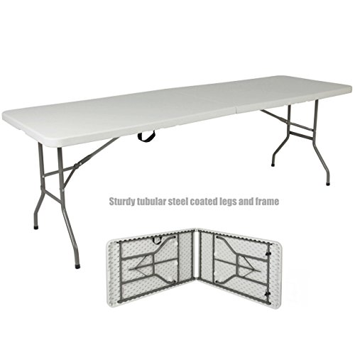 8' High Riser (Commercial Construction Light-weight Portable Multipurpose 8ft High Density Plastic Powder Coated Steel Frame Folding Indoor Outdoor Table Picnic Camp Party Dining Laptop Desk #1187)