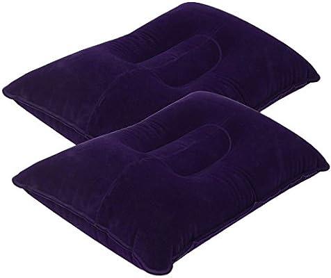 Almohada inflable ultraligero, paquete de 2 almohadas flocadoras almohadilla cojín de aire Soporte de sueño de viaje para viajes al aire libre Acampar ...