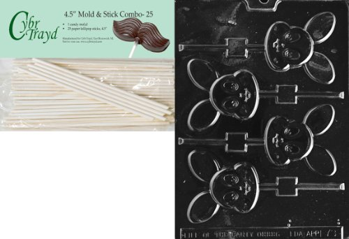 Cybrtrayd Baby Bunny Pop Easter Chocolate Candy Mold with 25 4.5-Inch Lollipop Sticks