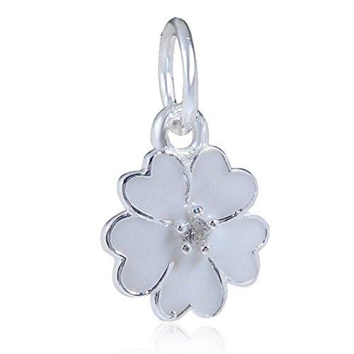 Choruslove White Primrose Meadow Enamel Flower Charm 925 Sterling Silver Dangle Bead for European Brand Bracelet - Cherry Blossom Flower Bead