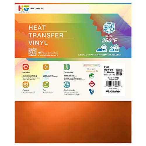 Foil Heat Transfer Vinyl - Iron on HTV l for Custom DIY Designs, T-Shirts, Home Decor, Crafts l Easy to Cut, Weed and Transfer l Metallic and Eye-catching (Copper, 12