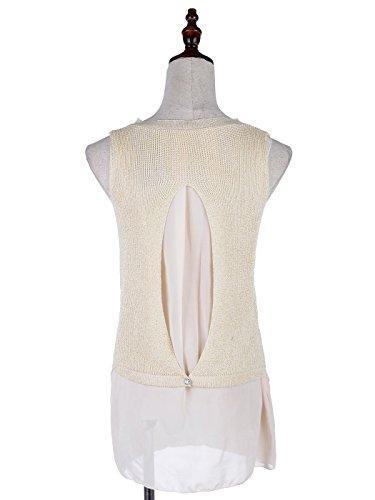 Sleeveless gestrickte Neck Beige Overlay S Rückseite Anna Kaci M Fit High Kleid Geschlitztes wqO8Xzg