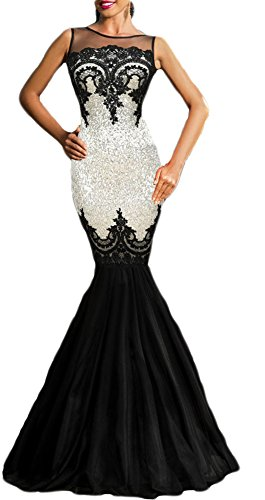 made2envy Sequin Applique Evening Mermaid Party Tulle Gown (M, Silver) LC60633MS - Silver And Gold Prom Dress