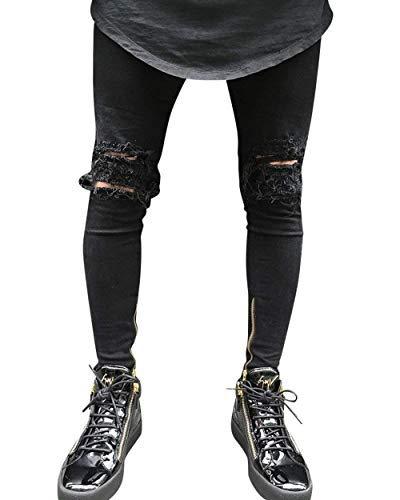 Estilo Jeans Nero Fit Especial Pantaloni Da Denim Buco Biker Slim Stretch Uomo Strappati Casual Cerniera Gamba rq4ZzUrxn