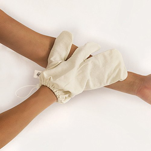 (ADJUSTABLE - 100% Raw Silk Garshana Gloves, Remove Toxins, Stimulate Lymphatic System, Reduce Cellulite, Exfoliate with Ayurvedic Massage, Cellulite Reduction (Medium))